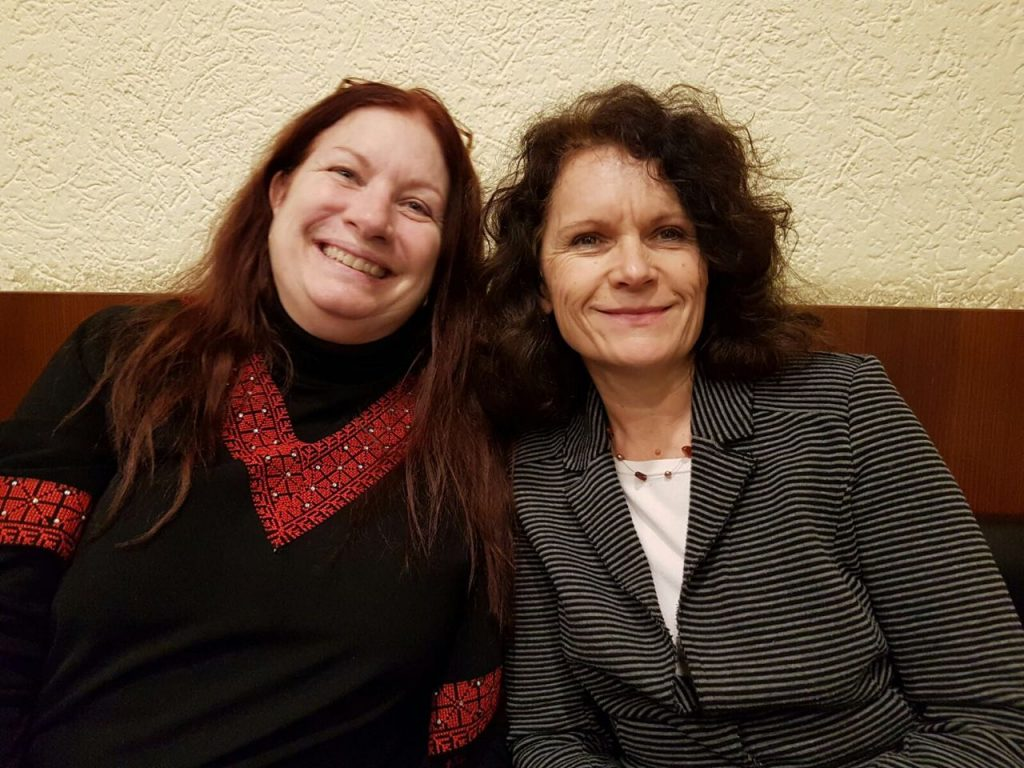 Dr Anna Less with German hostess and supporter Christine