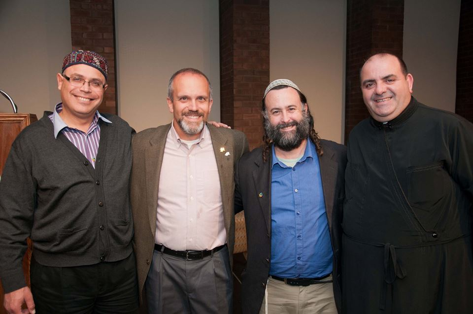 From Left to Right: Sheikh Ghassan Manasra, Prof. Michael Gizzi of ISU, Rodef Shalom Eliyahu McLean, Deacon Jiries Mansour