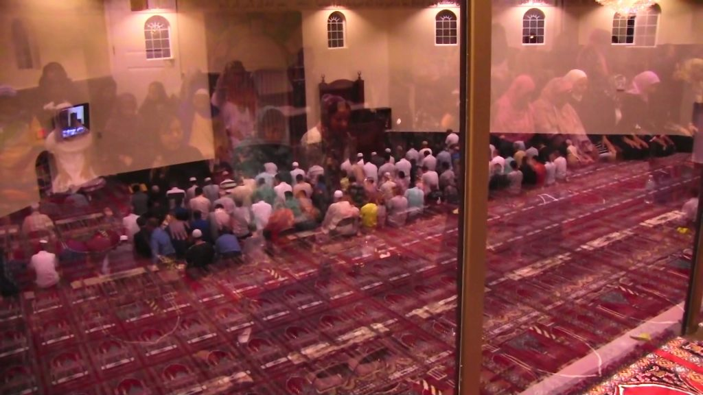 After breaking the fast, we all went into the mosque to pray. Men went downstairs, and women went upstairs.